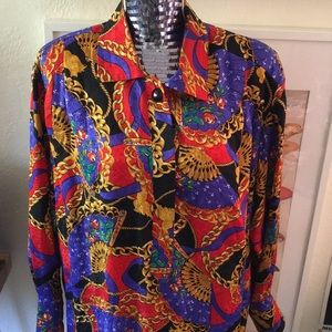 VINTAGE Silk Baroque Print Long Sleeve Shirt Dress